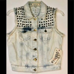 Pistola Women Denim Blue Studded Vest Jacket Sz: S